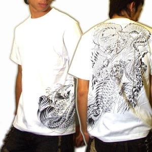 画像5: 鯉の瀧登り登龍門和柄 tシャツ通販