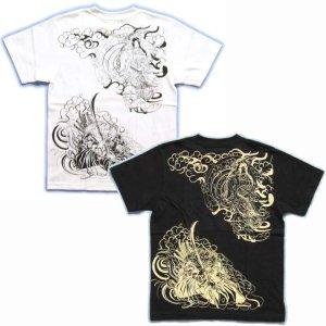 画像3: 紅雀 和柄 【牛若丸と弁慶】 武将 Tシャツ (名入れ刺繍可)通販 刺青 和彫り デザイン
