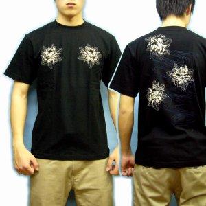 画像5: 紅雀 和柄 【髑髏牡丹の流水】 Tシャツ (名入れ刺繍可)通販 刺青 和彫り デザイン