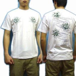画像4: 紅雀 和柄 【髑髏牡丹の流水】 Tシャツ (名入れ刺繍可)通販 刺青 和彫り デザイン