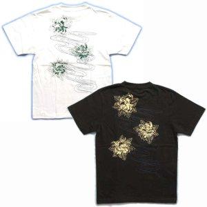 画像3: 紅雀 和柄 【髑髏牡丹の流水】 Tシャツ (名入れ刺繍可)通販 刺青 和彫り デザイン