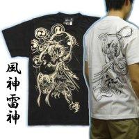 風神雷神筋彫風和柄Tシャツ通販