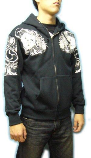 画像4: 巴炎龍 和柄 パーカー スエット刺青デザインの紅雀(名入れ刺繍可)通販 派手 パーカー 和柄服