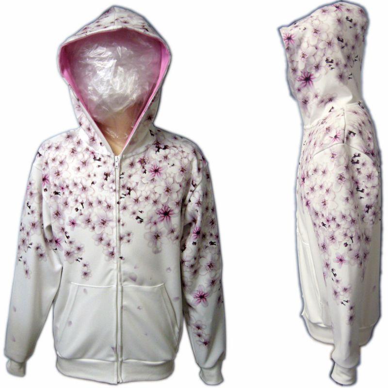 桜 イラスト 和柄 服 ジップ パーカー